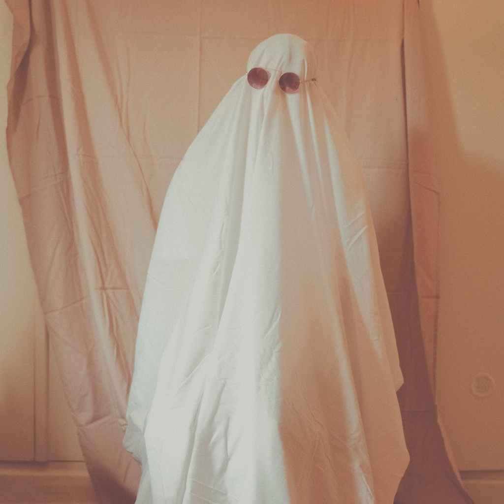 anonymous person in ghost costume in studio