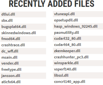recently dll files added to the library