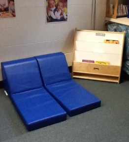 Our new reading corner with mats to lay and relax on for the children!