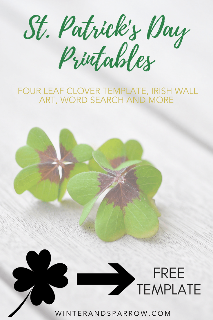 This is a graphic of Four Leaf Clover Printable Template for stencil