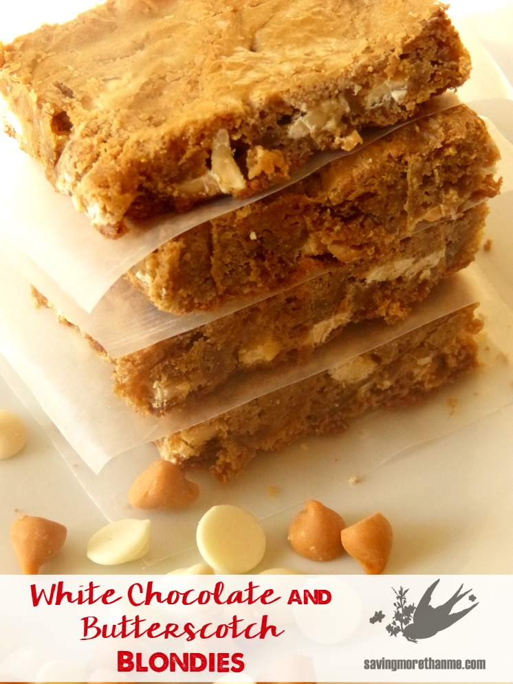 White Chocolate and Butterscotch Blondies #recipes winterandsparrow.com