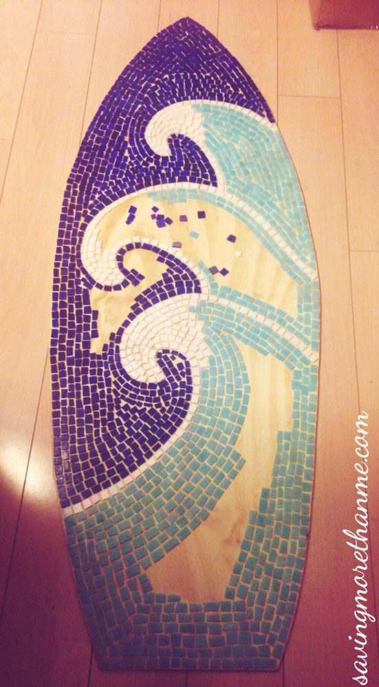 DIY Mosaic Wave Surfboard with Stained Glass