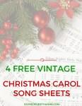 Vintage Christmas Carol Song + Lyric Sheets