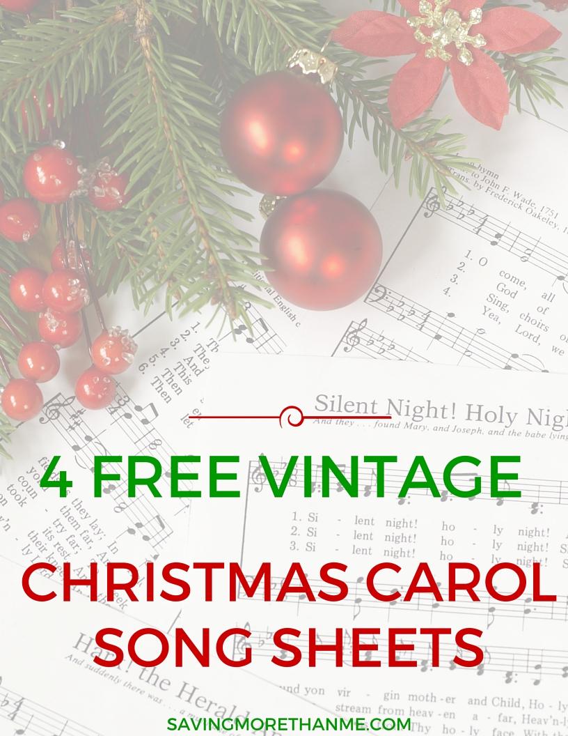 Four Vintage Christmas Carol Song + Lyric Sheets
