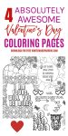 Four Free Valentine's Day Coloring Pages {For Adults + Kids!}