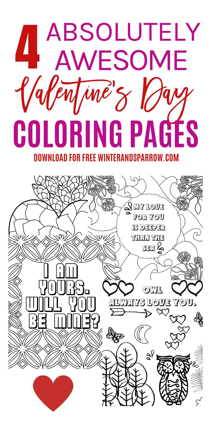 4 Free Valentine\'s Day Coloring Pages