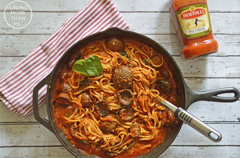 Italian Inspired Meals: Linguine With Mushrooms and Spinach #ad #VivaBertolli