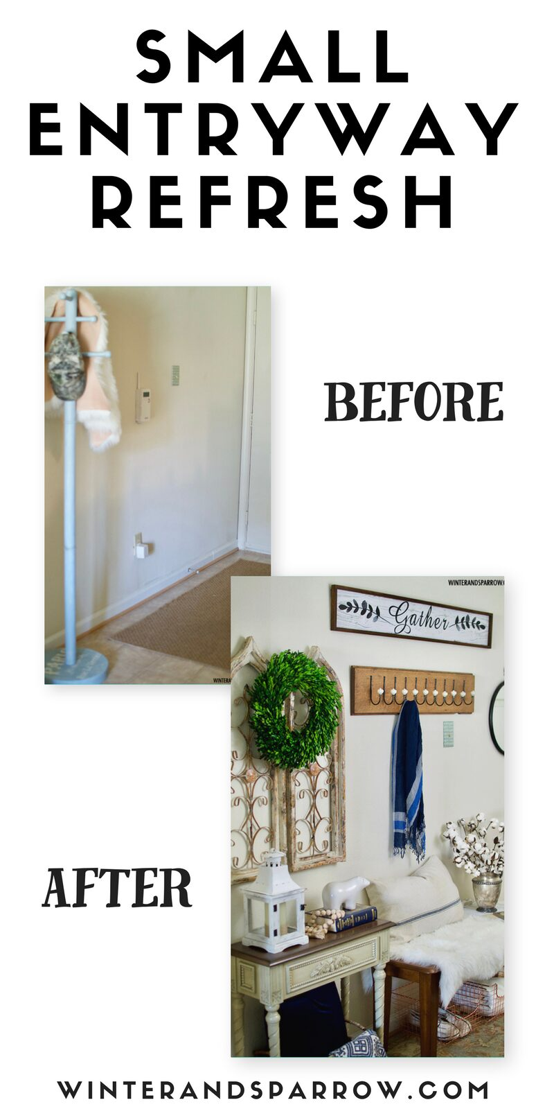 Small Entryway Refresh:  From Boring and Blah To Cute and Cozy Farmhouse Style winterandsparrow.com