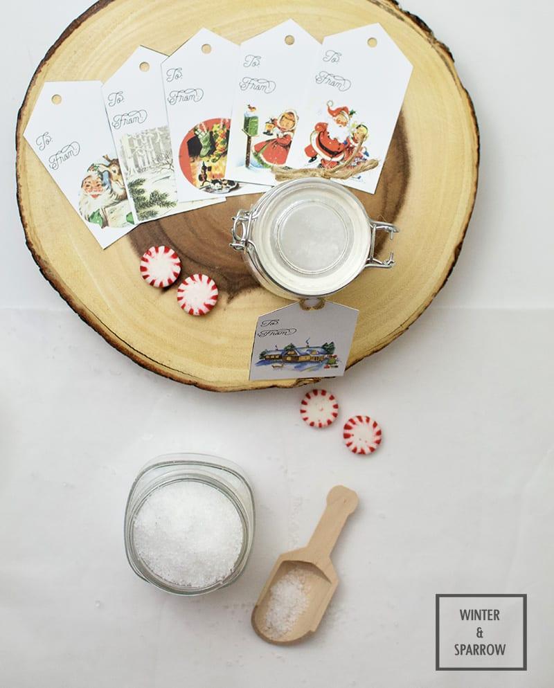 Refreshing Peppermint Sea Salt Body Scrub (Plus, Free Gift Tags) winterandsparrow.com #bodyscrub #seasalt #scrubrecipe #peppermint