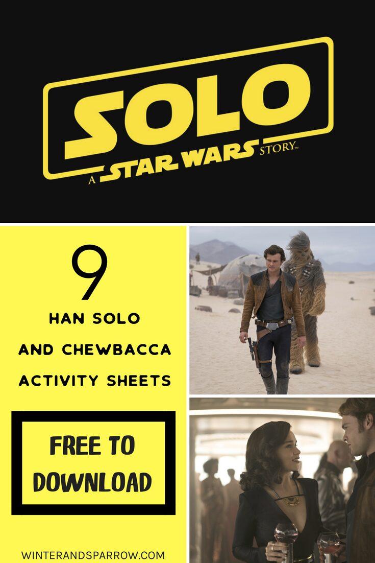 9 Han Solo Activity Sheets (free to download) #hansolo #starwars |winterandsparrow.com