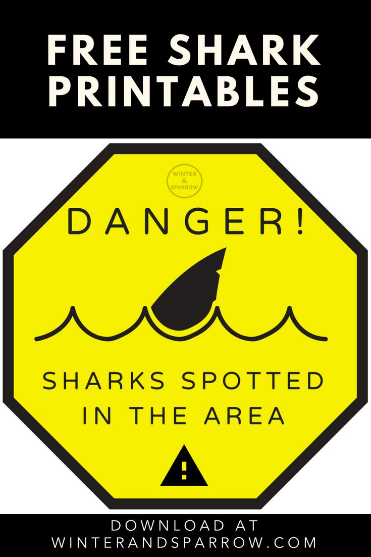 Free Shark Printables: Perfect for #SharkWeek or Party Photo Props | winterandsparrow.com