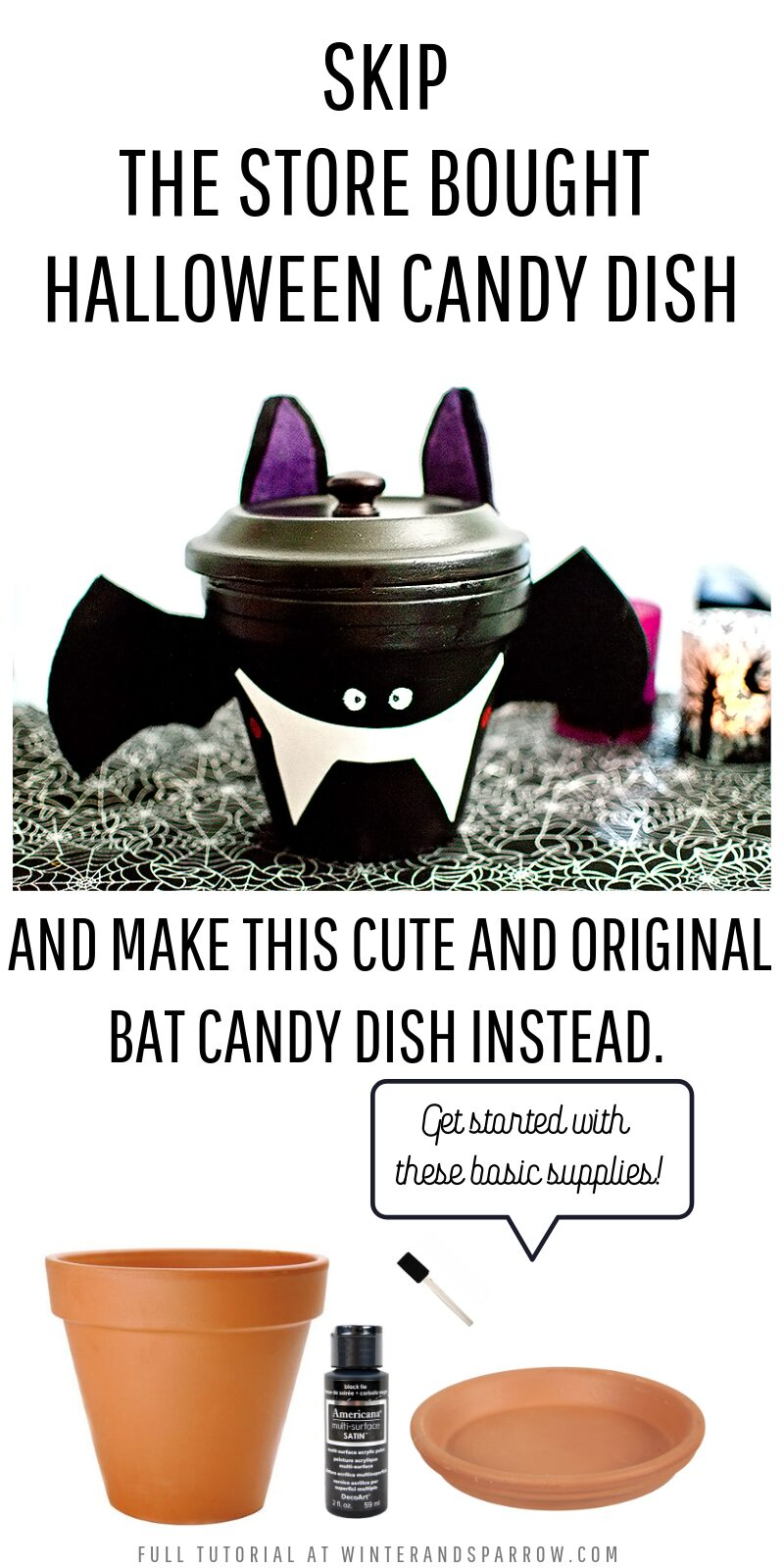 Skip the Store-Bought One! Make This Cute + Original Bat Candy Dish Instead! #halloween