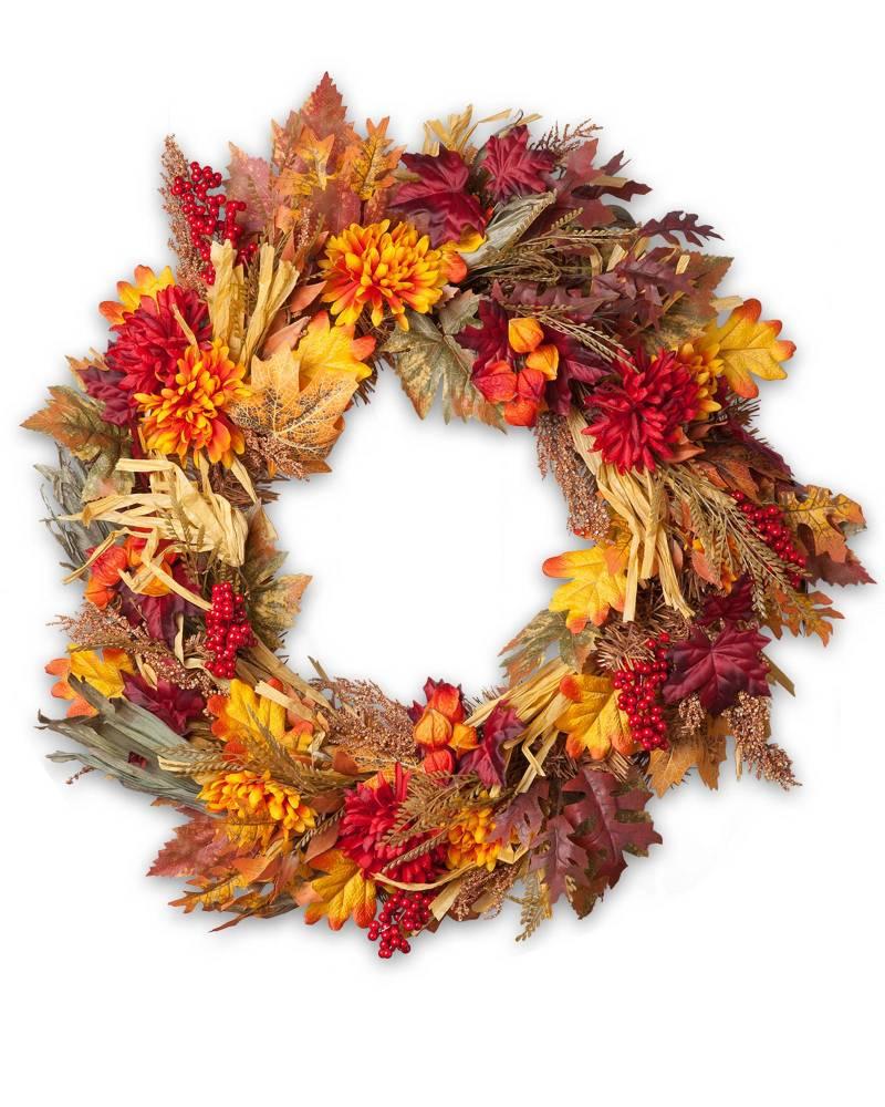 17 Stunning Fall Wreaths + A Free Watercolor Download   winterandsparrow.com #fallwreaths #autumnwreaths #fallwreathideas #autumnwreathideas #autumnwatercolor