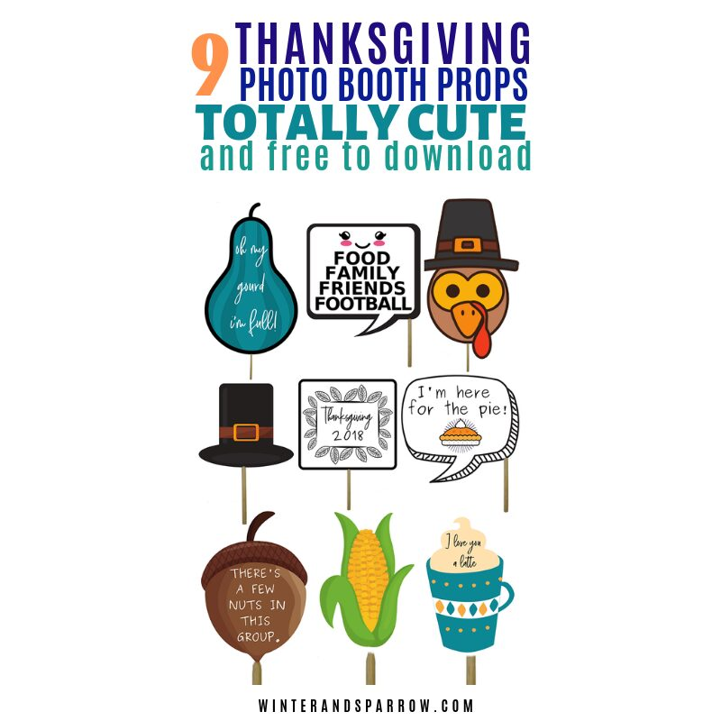 9 Totally Cute Thanksgiving Photo Booth Props (free download) | winterandsparrow.com #thanksgivingphotobooth #thanksgivingprops #thanksgivingphotos