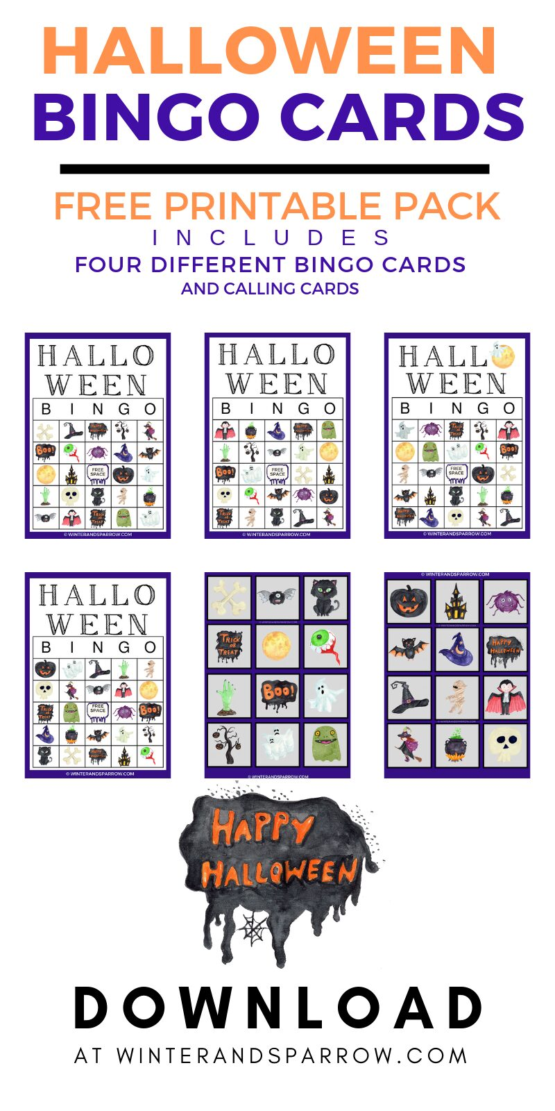 photo relating to Printable Bingo Calling Cards titled Halloween Printable BINGO Playing cards: Features 4 Substitute