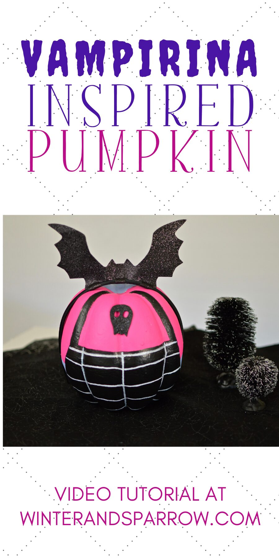 DIY Video Tutorial: A Batty Vampirina Pumpkin | winterandsparrow.com #vampirinapumpkin #vampirina #disneycrafts
