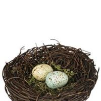 Speckled Robin's Egg Blue Yellow Moss 4 Inch Decorative Bird's Nest