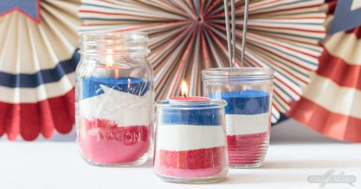 American Flag Mason Jar Sand Art