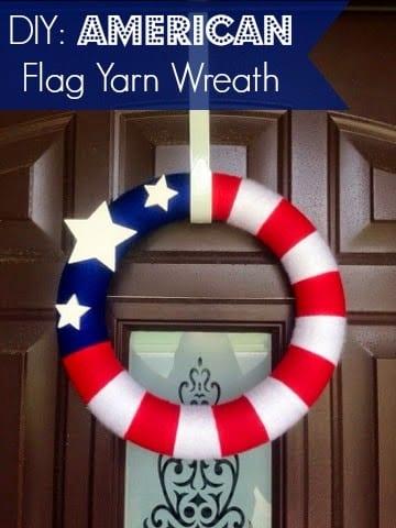 DIY American Flag Yarn Wreath