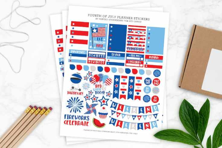 Fourth of July Printable Planner Stickers
