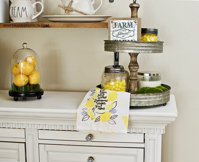 Dollar Store Decorating Ideas: Bright + Cheery Lemon Farmhouse Decor {Video} #dollarstoredecoratingideas #lemonhomedecor