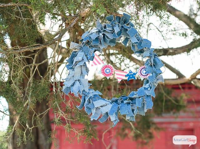 Patriotic Denim Rag Wreath
