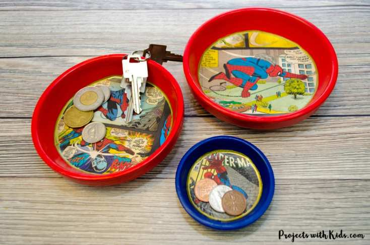 Superhero Trinket Dishes Father's Day Craft & Gift