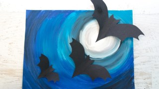 Halloween Art Project with 3D Paper Bats