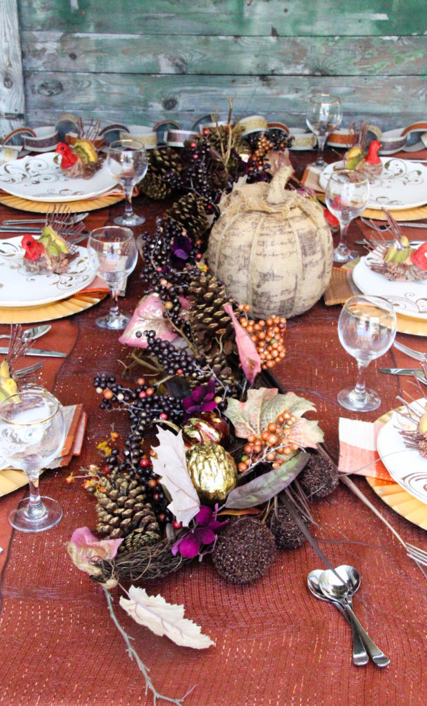 Gold and Orange Tablescape for Thanksgiving
