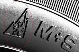 Berg, sneeuwvlok en M+S logo's