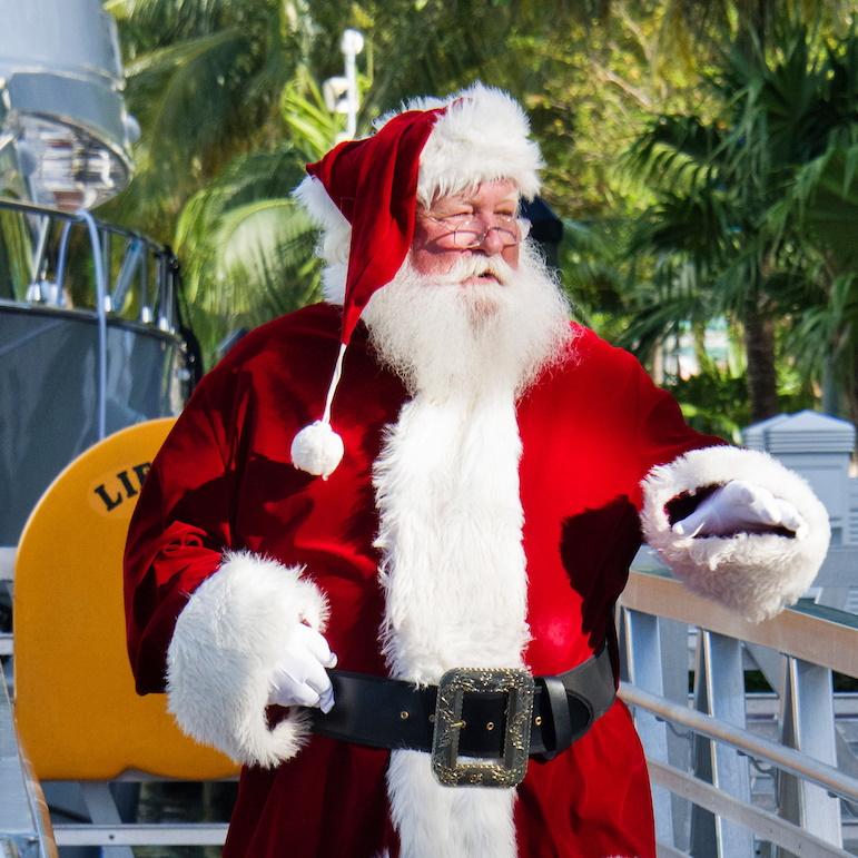 Santa on a dock