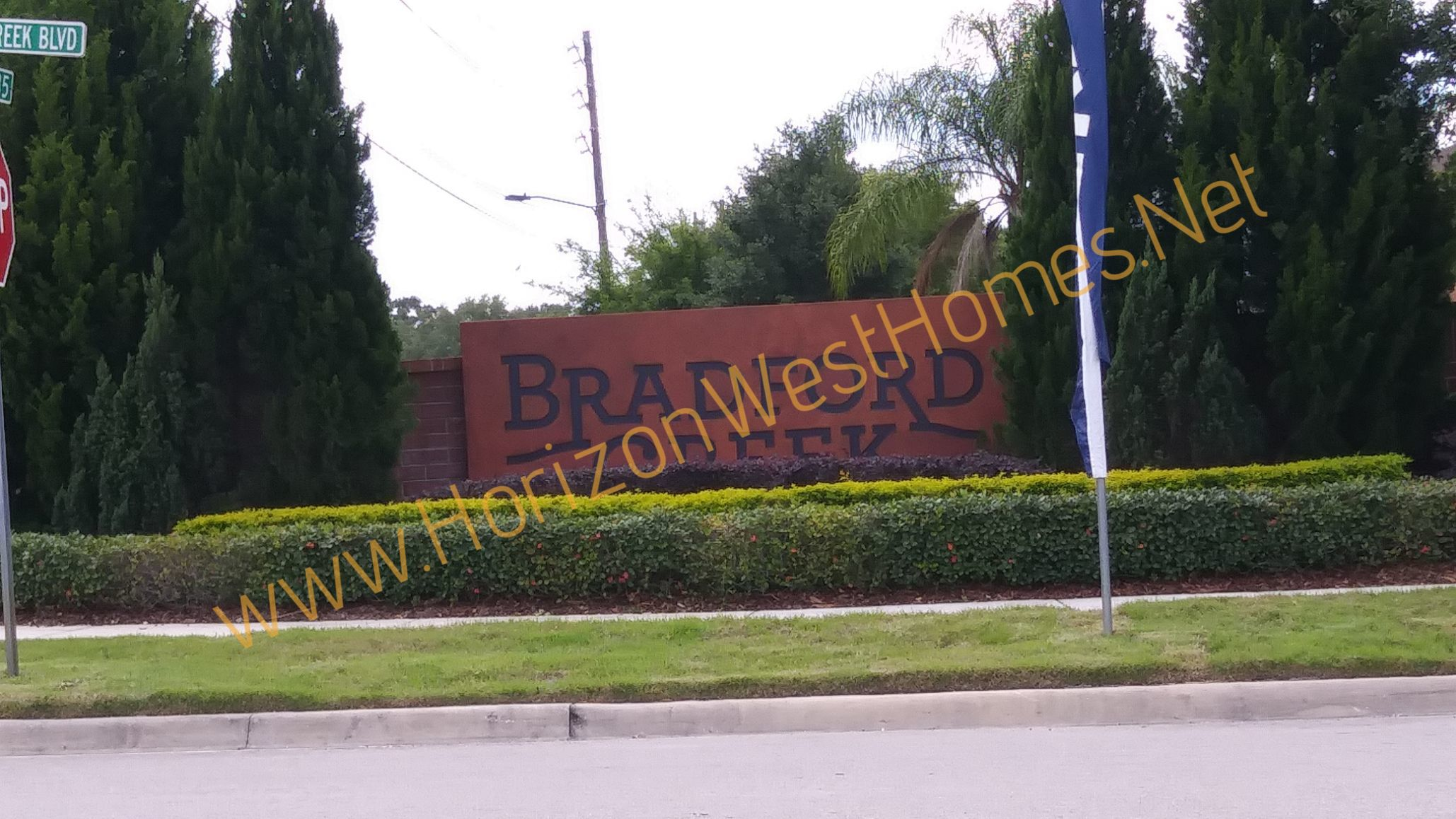 Bradford creek homes for sale. Gated Community Winter Garden Florida entrance sign. Real estate luxury homes