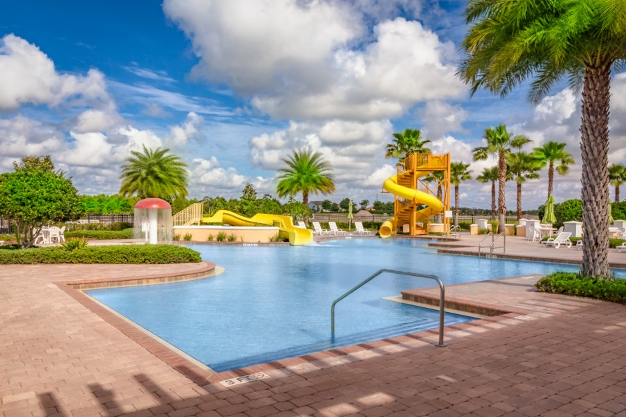 Providence Resort Pool in Davenport Loughman Florida. Single family, luxury and townhomes for sale. Security Guard gated golf community.