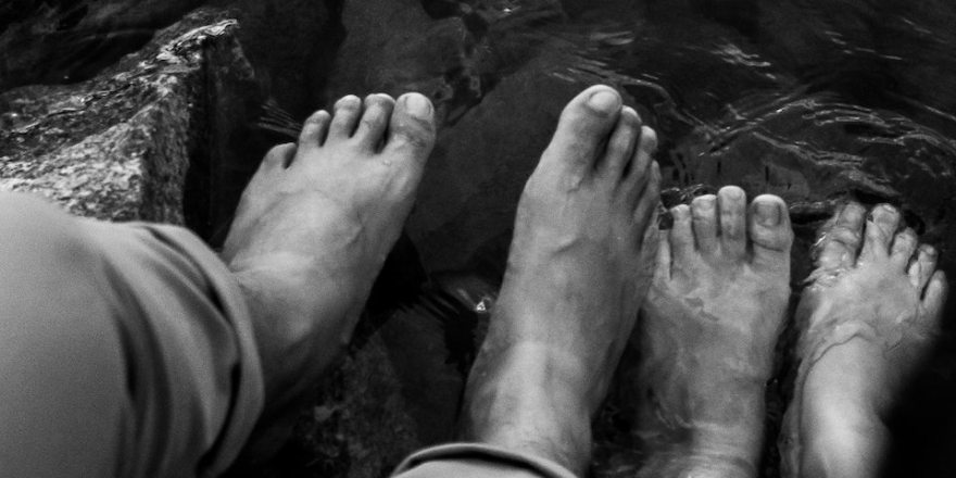 feet with clear water