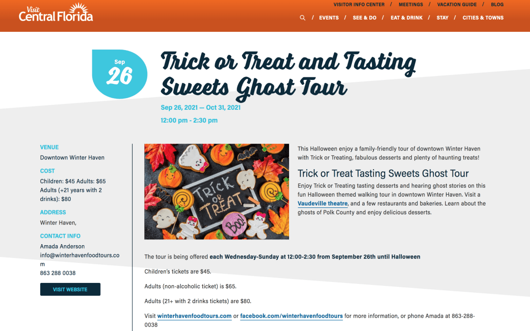 VISIT CENTRAL FLORIDA AND TRICK OR TREAT AND TASTE SOME SWEETS