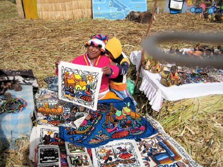 needlework from uros indian woman