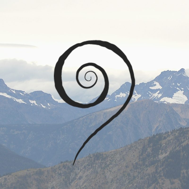 photo of mountains with a swirl logo in front