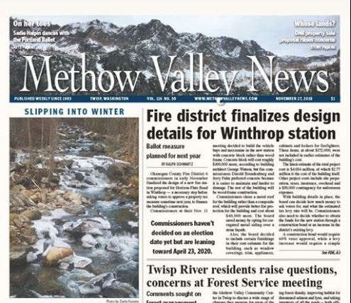 front page of the methow valley news