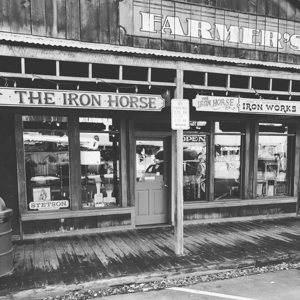 Winthrop Iron Horse sells local iron works, hats for all seasons, western wear, leather goods, jewelry, and gifts.