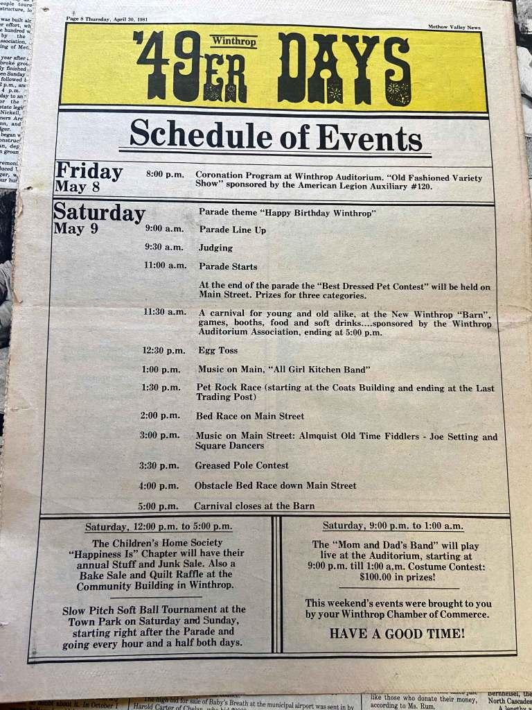 49er Days Winthrop WA Heritage tourism heritage event