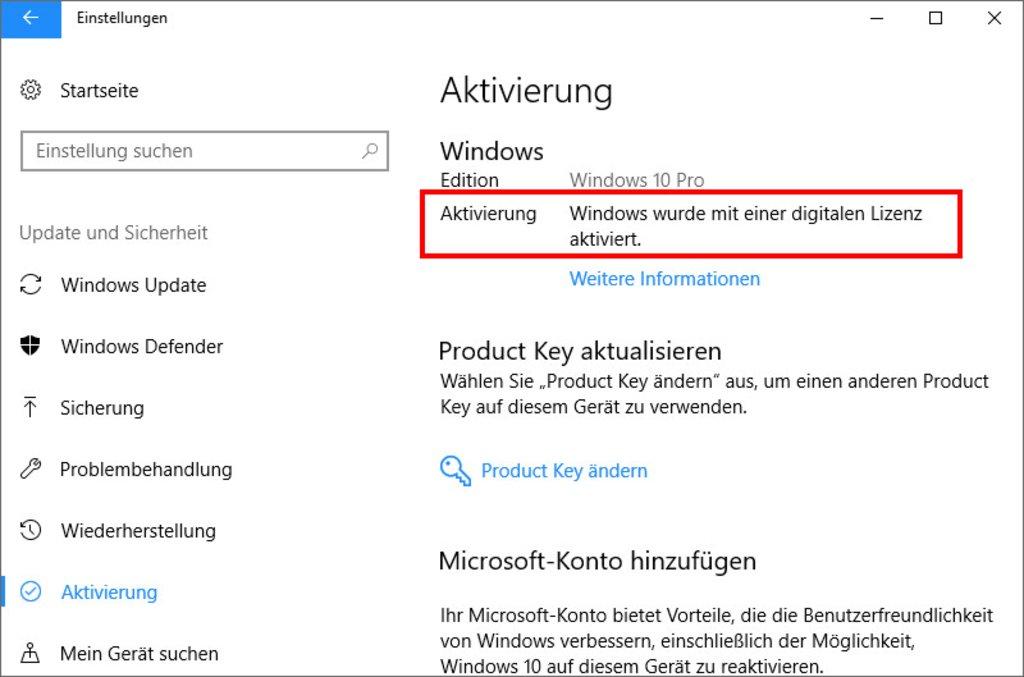 Windows 10 wurde bereits aktiviert