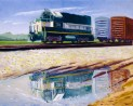 """Reflections of the California Northern Train"" 2004 by Daphne Wynne Nixon"
