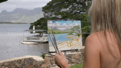 Matrix Mom paints in Oahu, Hawaii.