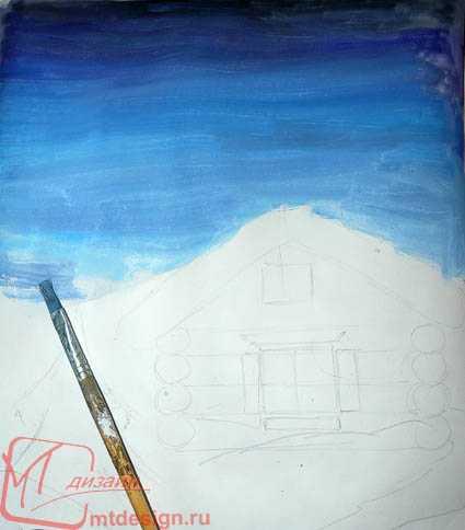 Рисунок красками изба – Как нарисовать избу поэтапно ...