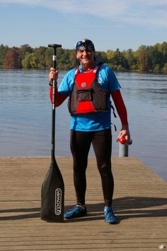 C1 Adam Figurski na mecie Maratonu Kajakowego na Jezioraku (fot. Kinga Kępa)