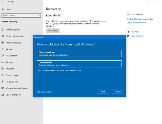 Optimize Windows 19 PC reset using the cloud
