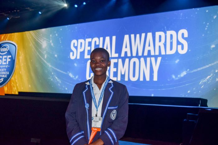 Pelagia at the Special Awards Ceremony for Intel ISEF in 2017.
