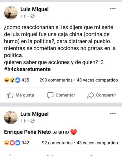 Facebook de Luis Miguel fue hackeado