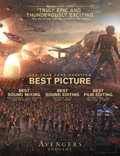 Revelan los cárteles de la campaña de 'Avengers: Endgame' rumbo al Oscar ca%CC%81rteles-de-avengers-endgame-rumbo-al-oscar-2-386x500