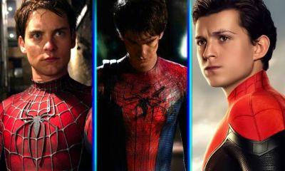 Tobey Maguire Andrew Garfield y Tom Holland en 'Spider-Verse'